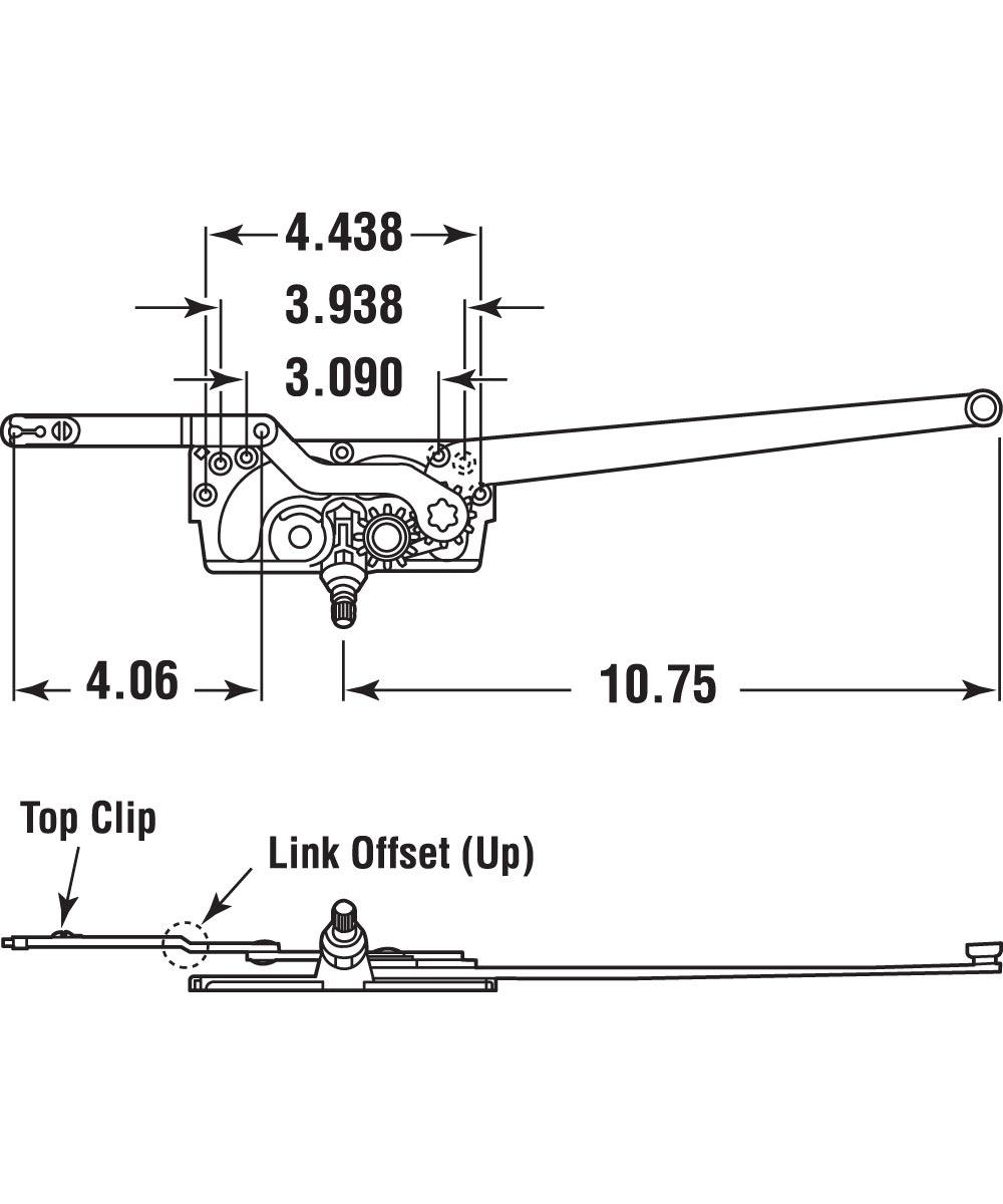 Entrygard Dual Arm Operator, RH, Stud Bracket, 1 set per pkg.