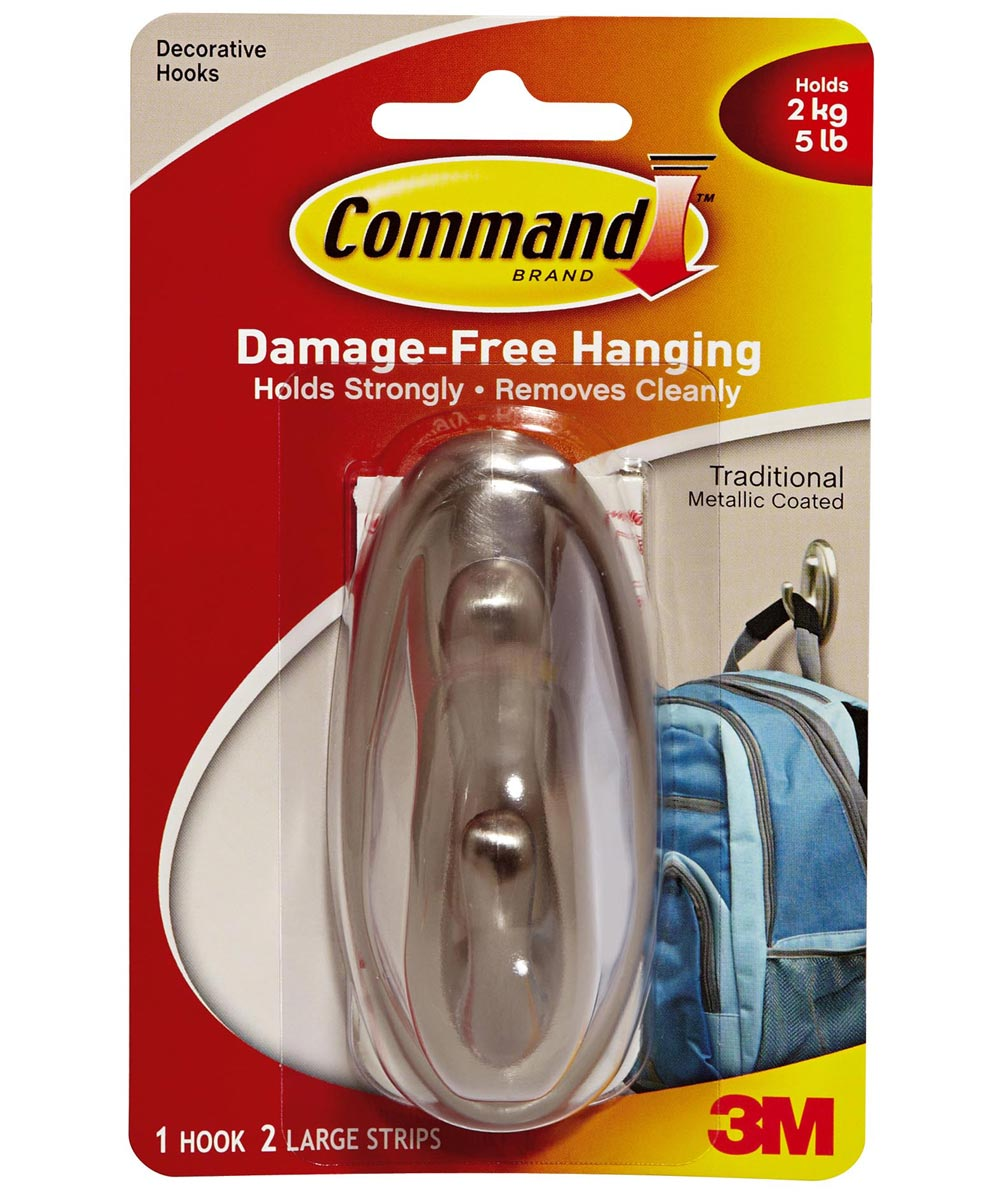 Large Brushed Nickel Command Traditional Hook