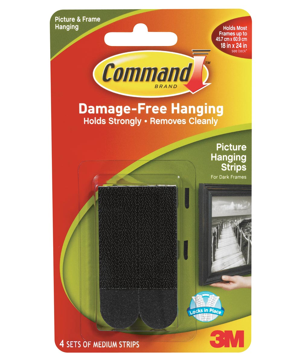 Medium Black Command Picture Hanging Strips 4 Count