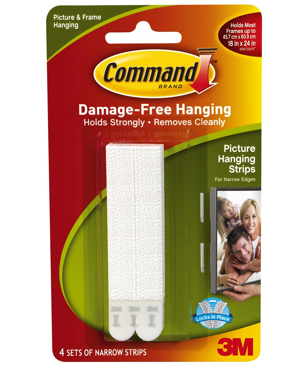4-Strip White Command Narrow Picture Hanging Strips