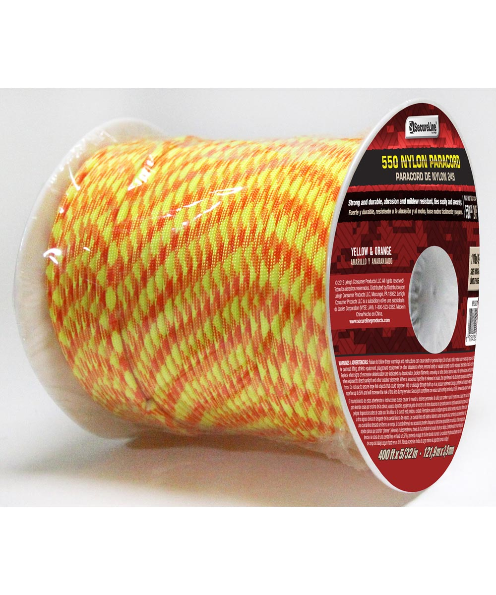 5/32 in. Yellow & Orange 550 Nylon Paracord (Sold Per Foot)