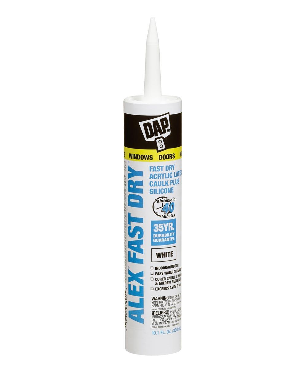 Alex Fast Dry White Acrylic Latex Caulk Plus Silicone, 10.1 oz.