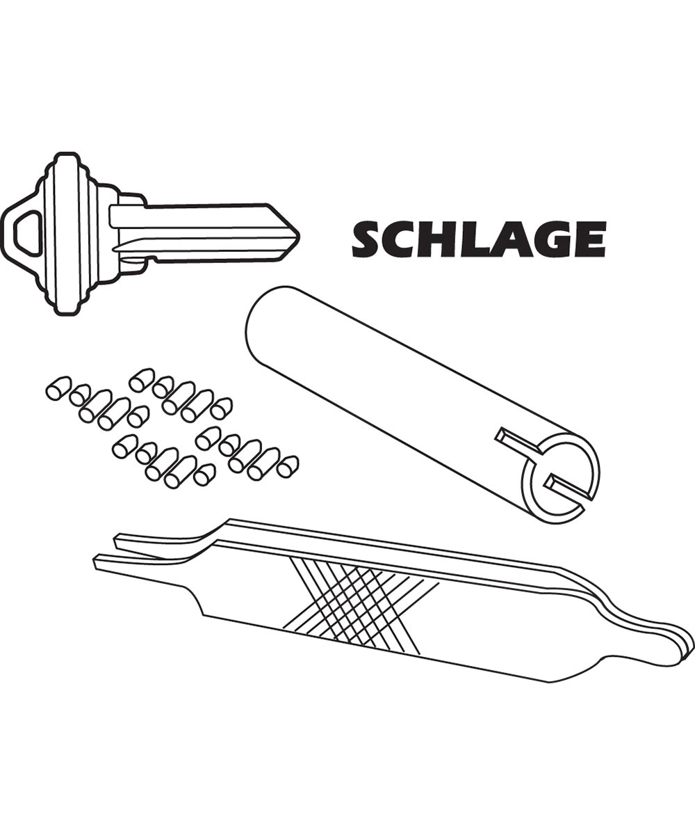 Re-Key A Lock Kit for Schlage Brand Locks, Type C 5-Pin Locksets with Keys & Tools