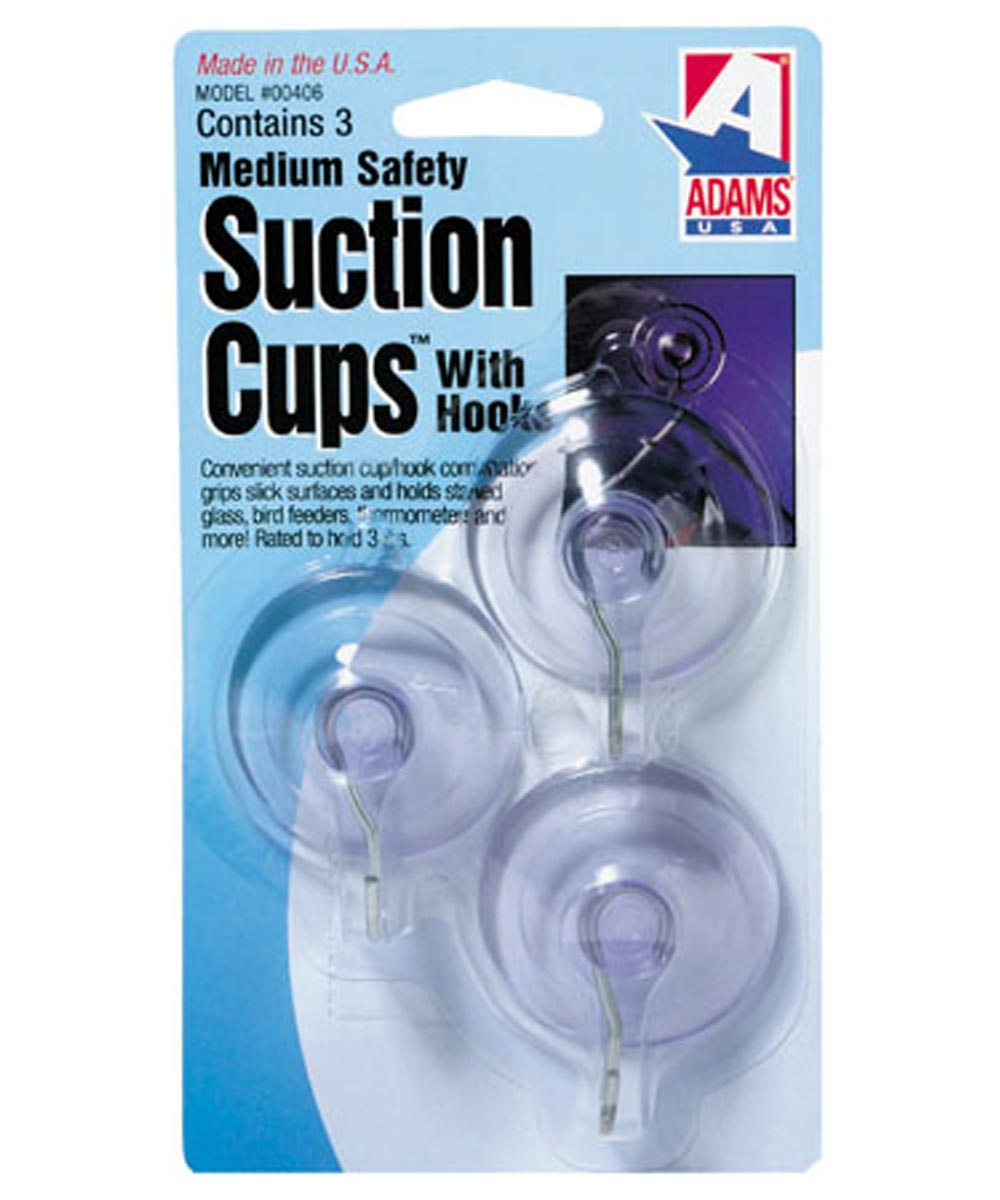 1-3/4 inch Suction Cup With Metal U Hook 3 Count