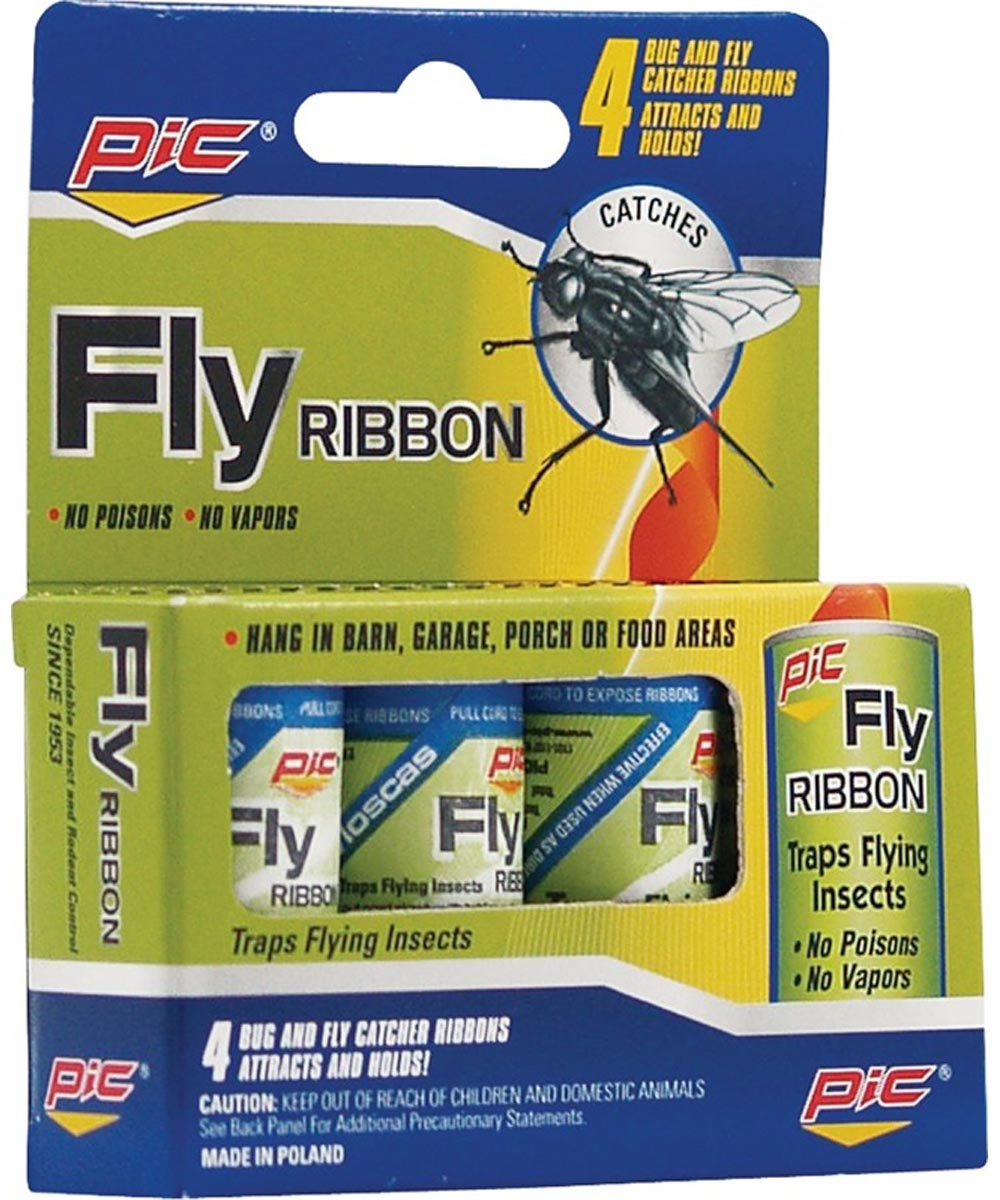 PIC Fly Ribbon Hanging Sticky Insect Catcher, 4 Pack
