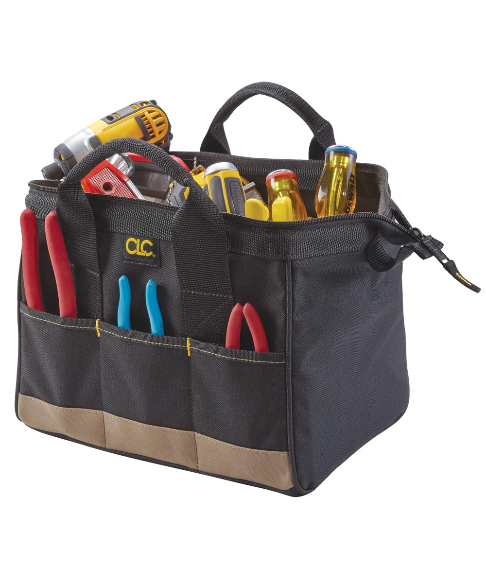 BigMouth Tool Works Standard Traditional Tool Bag, 12 in. (L) x 8-1/2 in. (W) x 8 in D