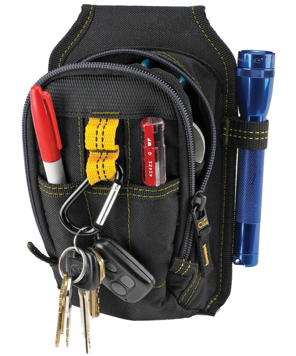 Multi-Purpose Tool Pouch, 5-1/2 in. (W) x 2 in. (D) x 7-1/2 in. (H), Polyester Fabric, Black
