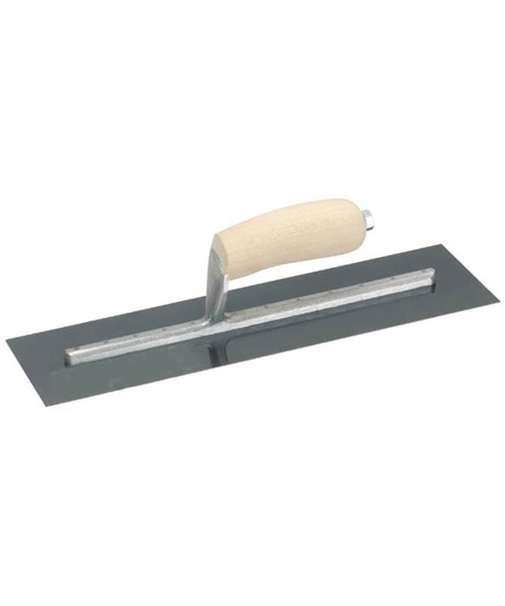 4 in. x 12 in. Finishing Trowel With Curved Wood Handle