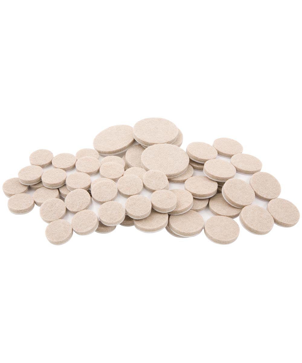 Oatmeal Round Self-Stick Felt Assorted Sizes 80 Count