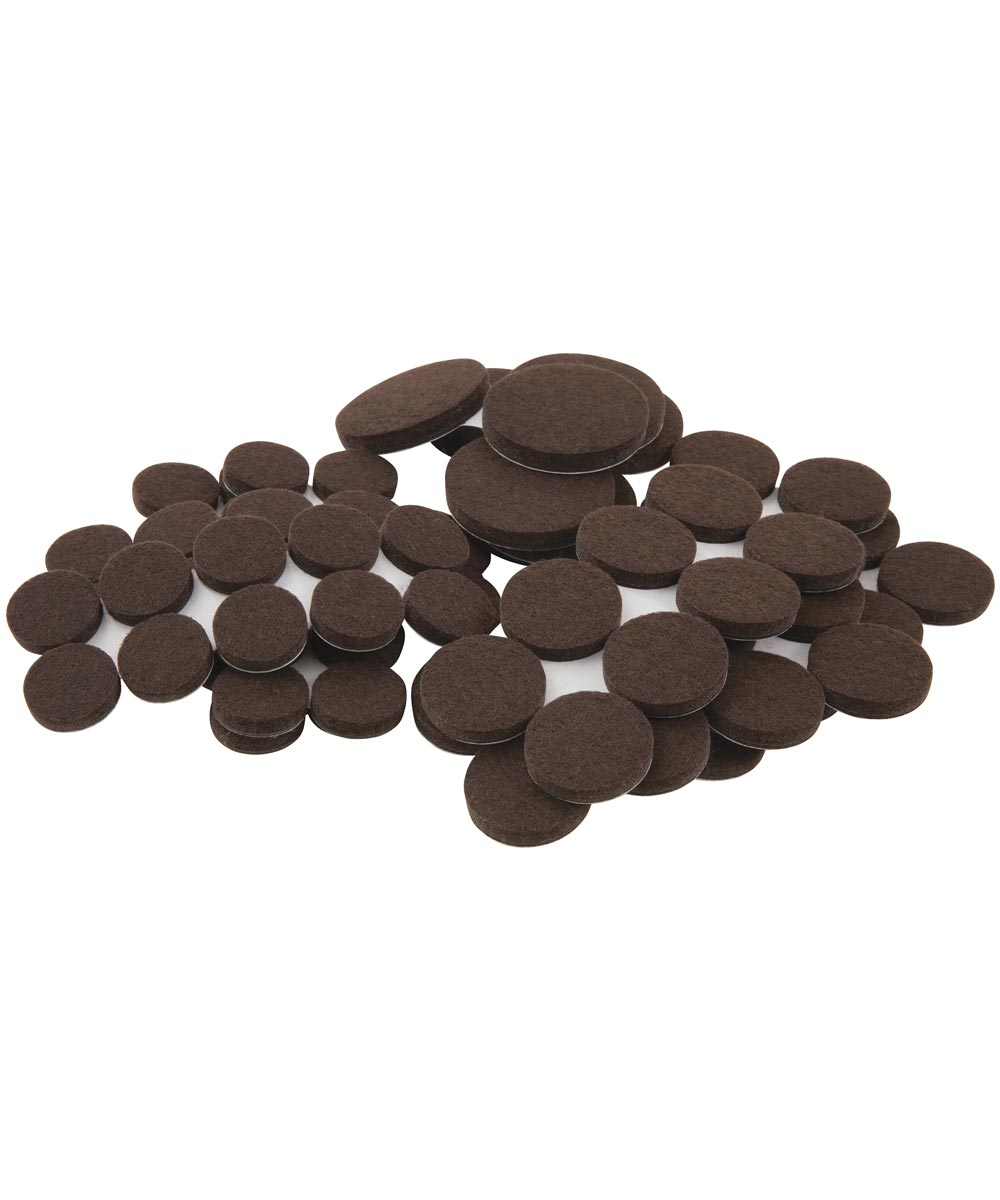 Brown Round Self-Stick Felt Pack Assorted Sizes 80 Count