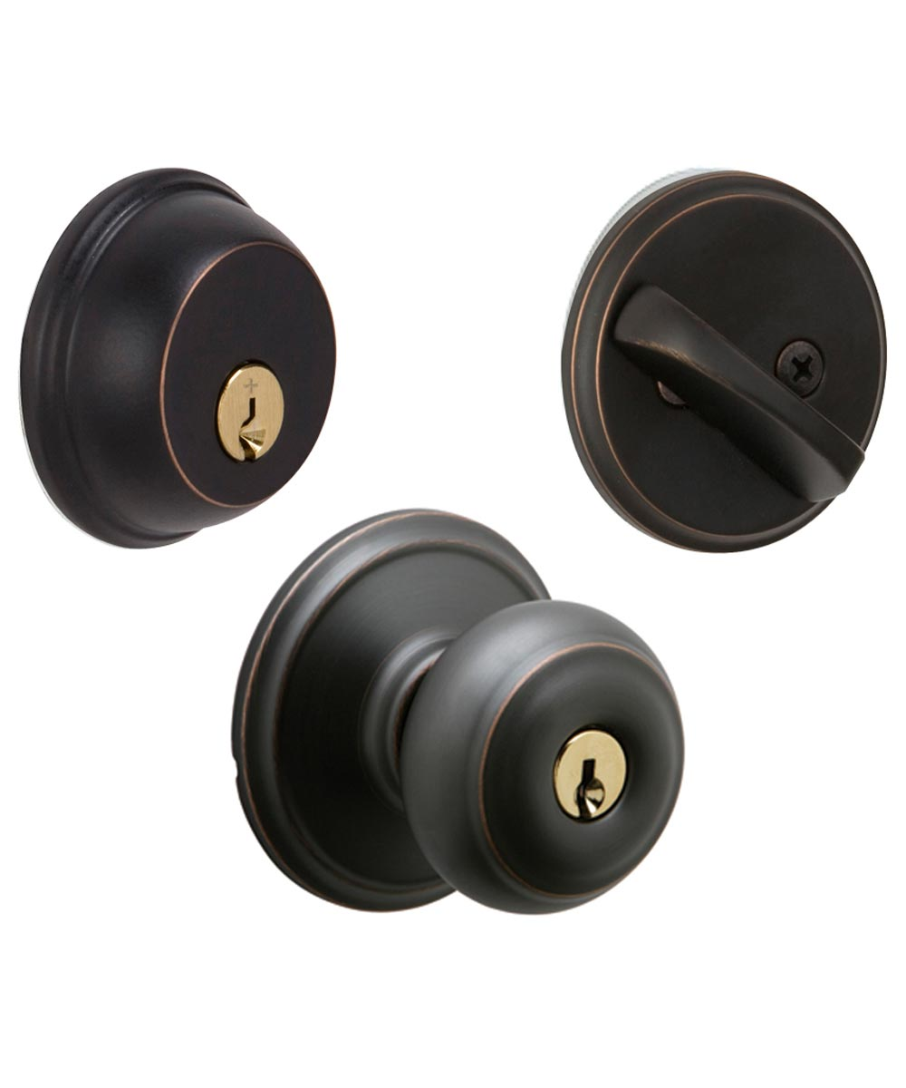 Schlage Georgian Keyed Front Entry Deadbolt & Door Knob Set, Aged Bronze