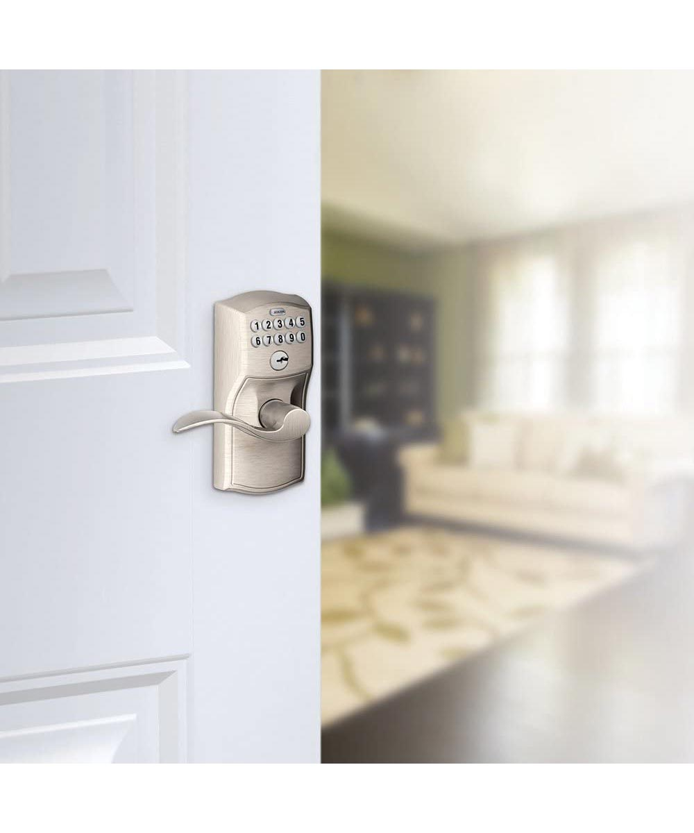 Schlage Camelot Accent Entry Door Lever with Keypad Lock, Satin Nickel