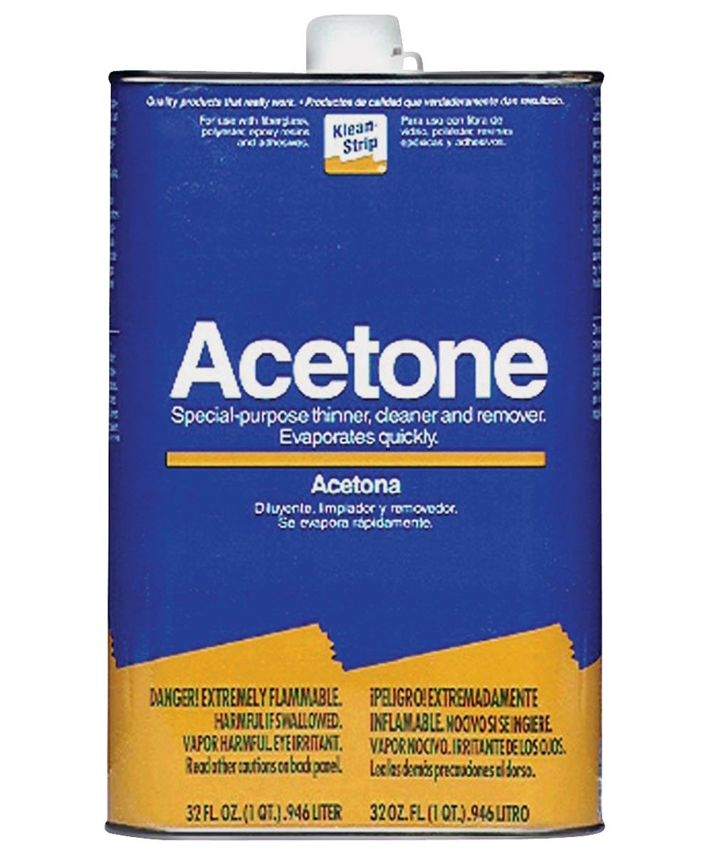Klean-Strip Acetone, 1 qt Metal Can, Clear, Liquid
