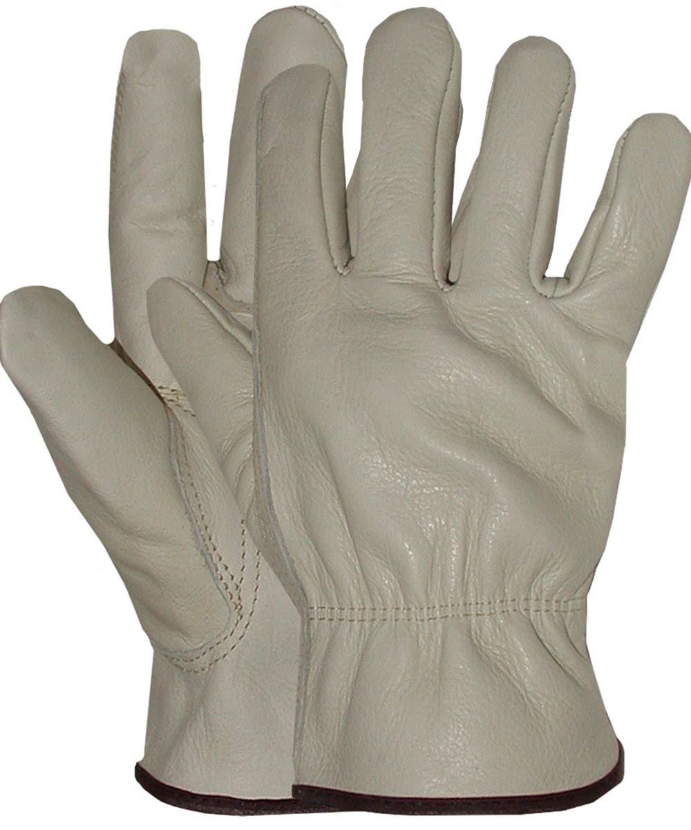 Large Standard Grade Grain Cowhide Leather Driver Gloves
