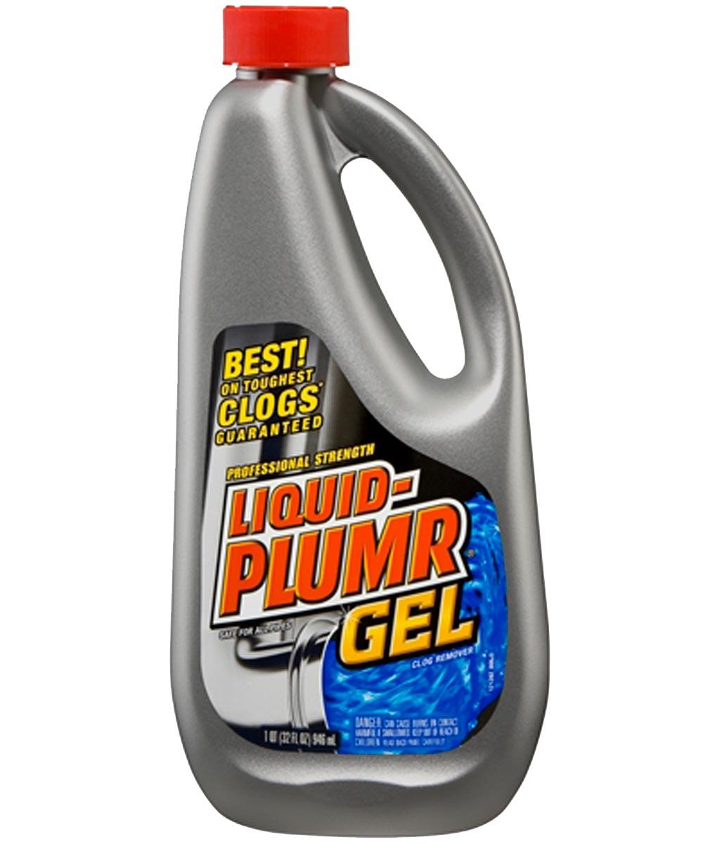 Liquid-Plumr Professional Strength Clog Remover, 32 oz Bottle, Clear Alkaline Liquid