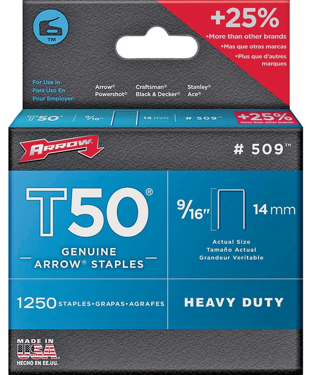 Heavy Duty Crown Staple, 3/8 in Flat Crown, 9/16 in. (L) Leg, Galvanized Steel