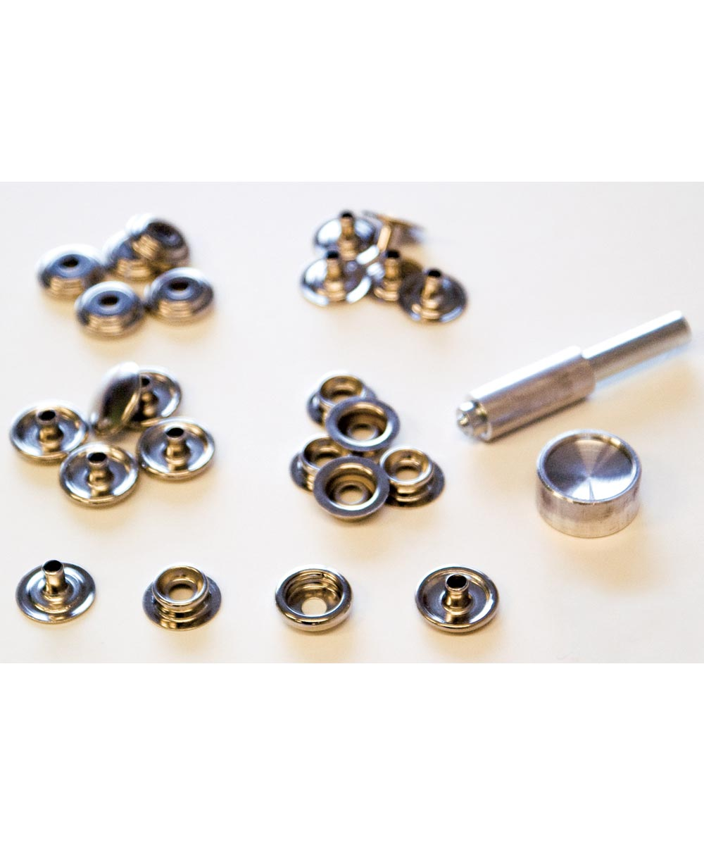 Brass Nickel Plated Canvas Snap Fastener Kit 6 Count