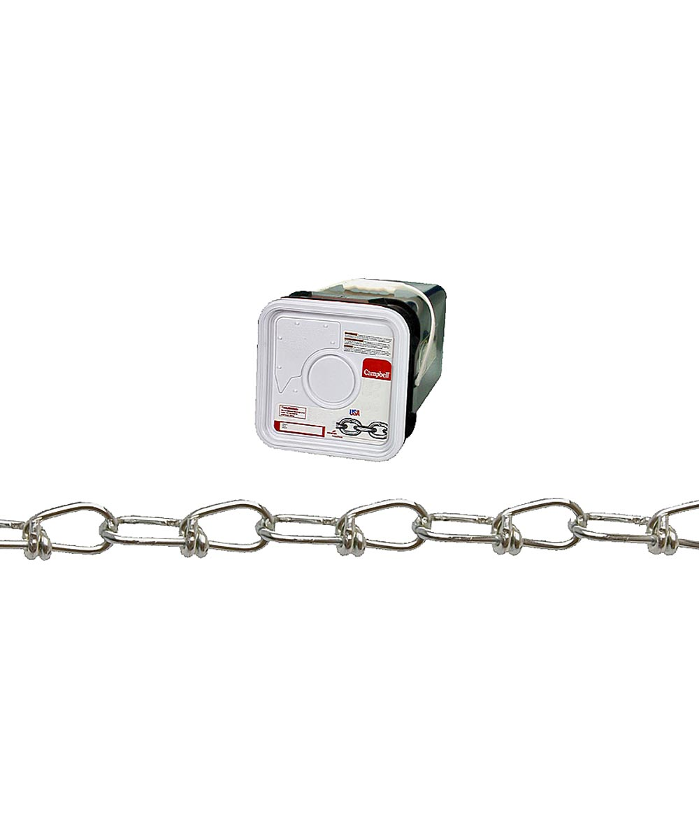 Double Loop Chain, 2/0, 255 lb, Low Carbon Steel (Sold Per Foot)