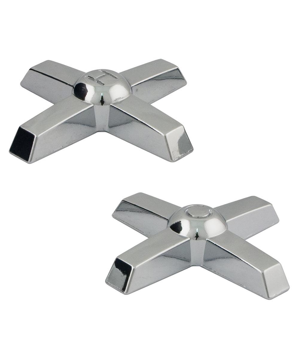 Chrome Cross Lucite Replacement Faucet Handles, Pair, Chrome