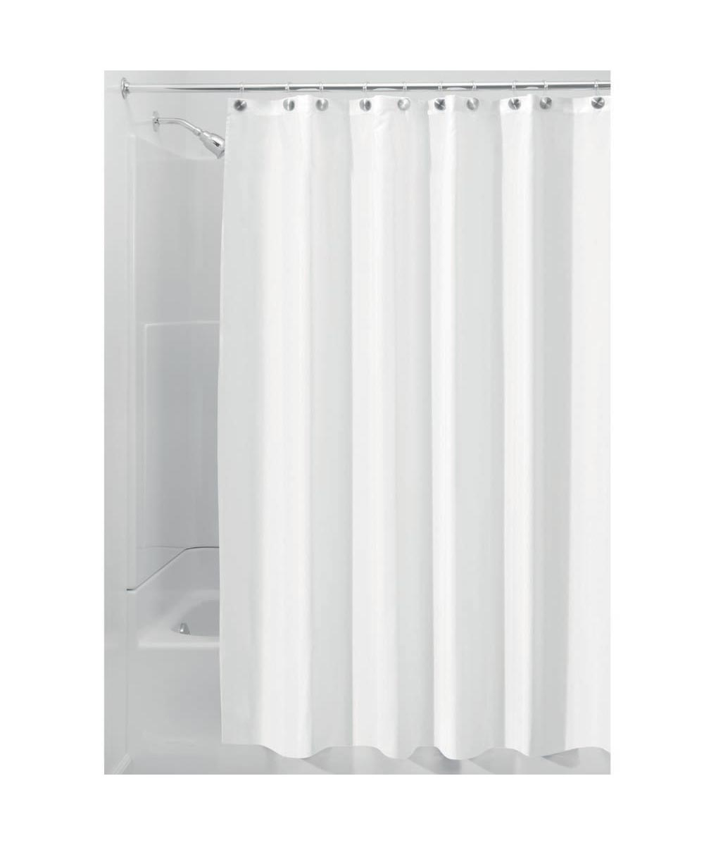 72x72 Inch Polyester Fabric Shower Curtain Liner, White