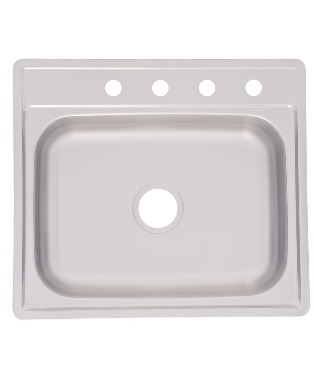 Franke 22 in. x 25 in. x 7 in. Stainless Steel 4-Hole Single Bowl Sink