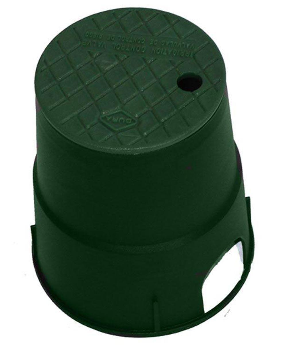 6 in. Round Sprinkler Valve Box, Green Body & Green Lid
