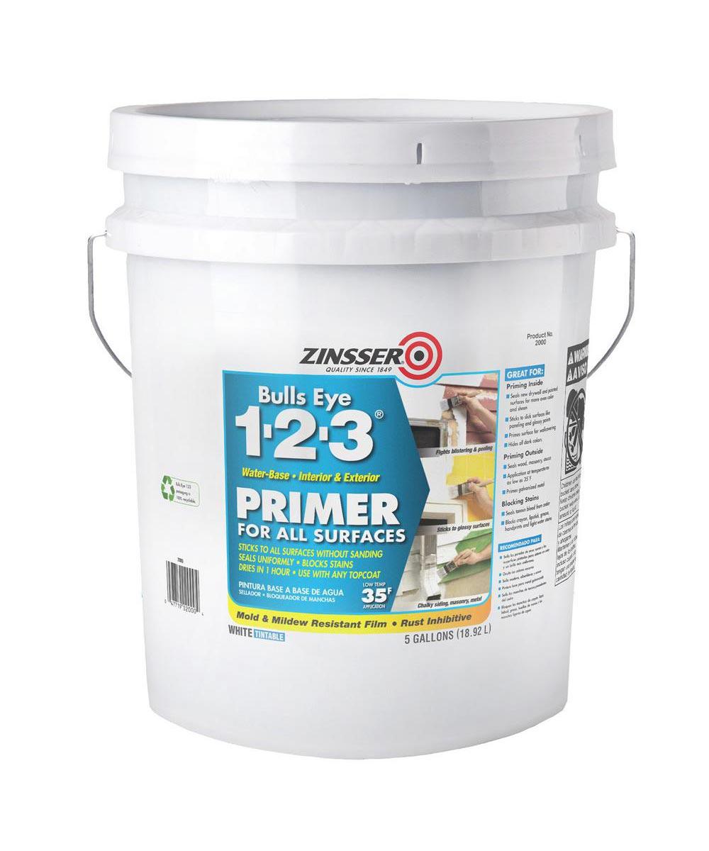 5 Gallon Zinsser Bulls Eye 1-2-3 Water-Base White Primer