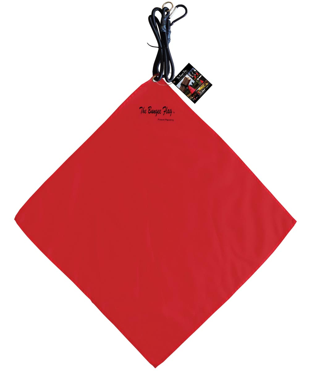 The Bungee Flag Heavy Duty Safety Flag With Bungee, 18 in. (W) x 18 in. (L), Red