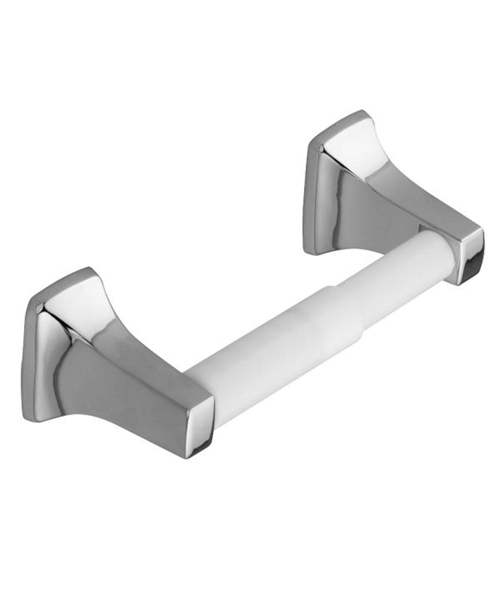 Contemporary Toilet Paper Holder with Plastic Roller, Chrome