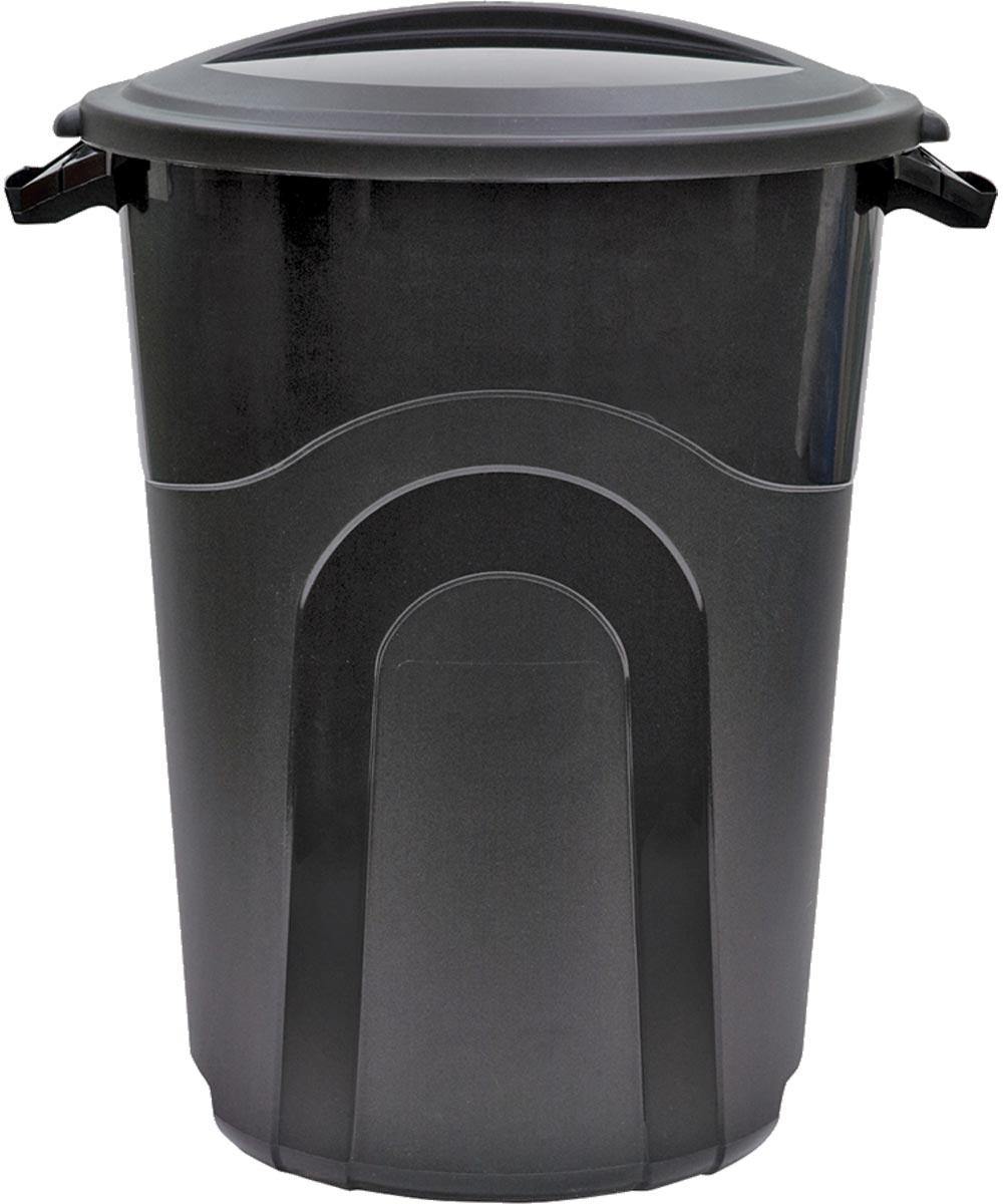 32 Gallon Plastic Round Trash Can, Black