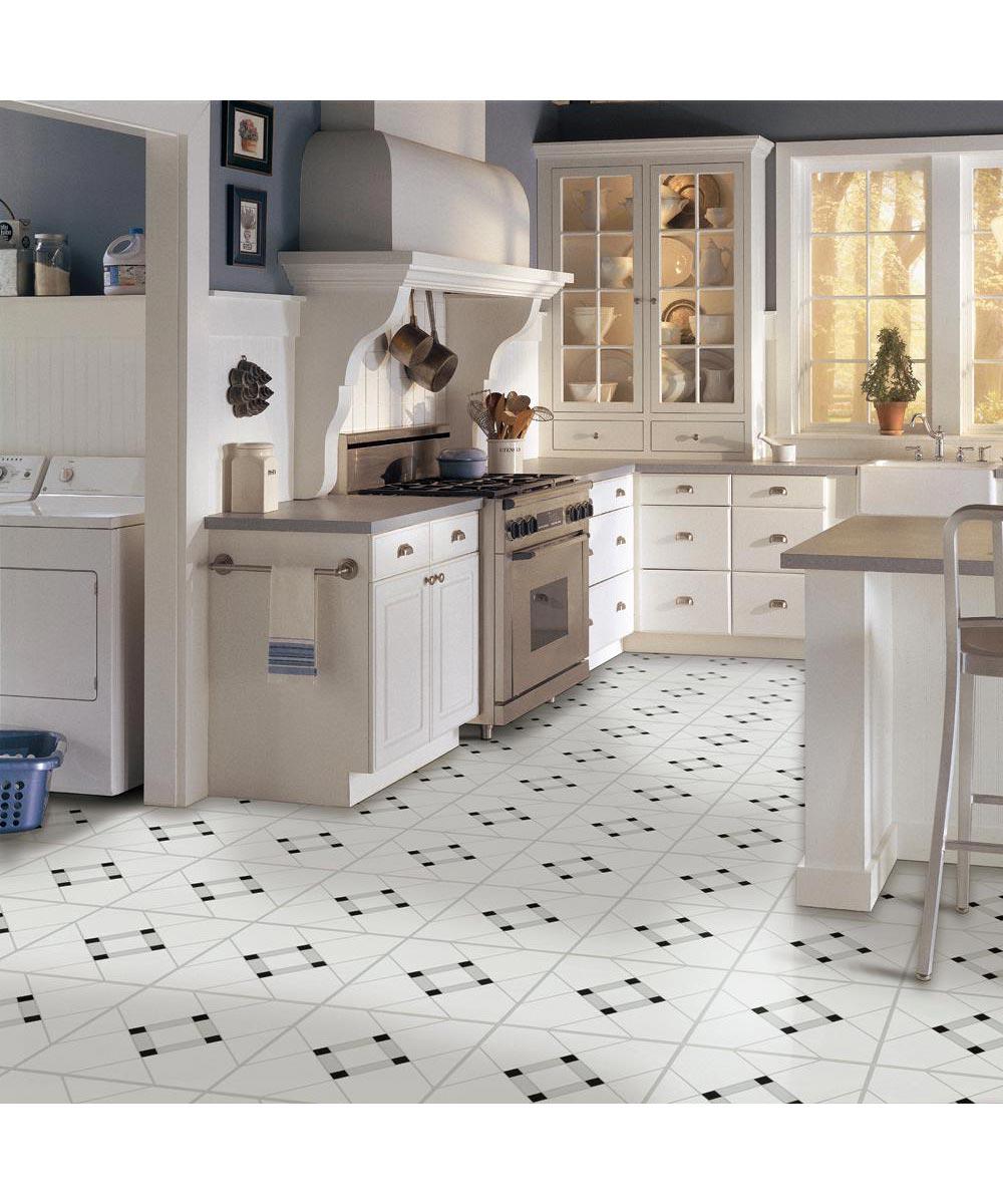 Vinyl Floor Tile Units, Black/White