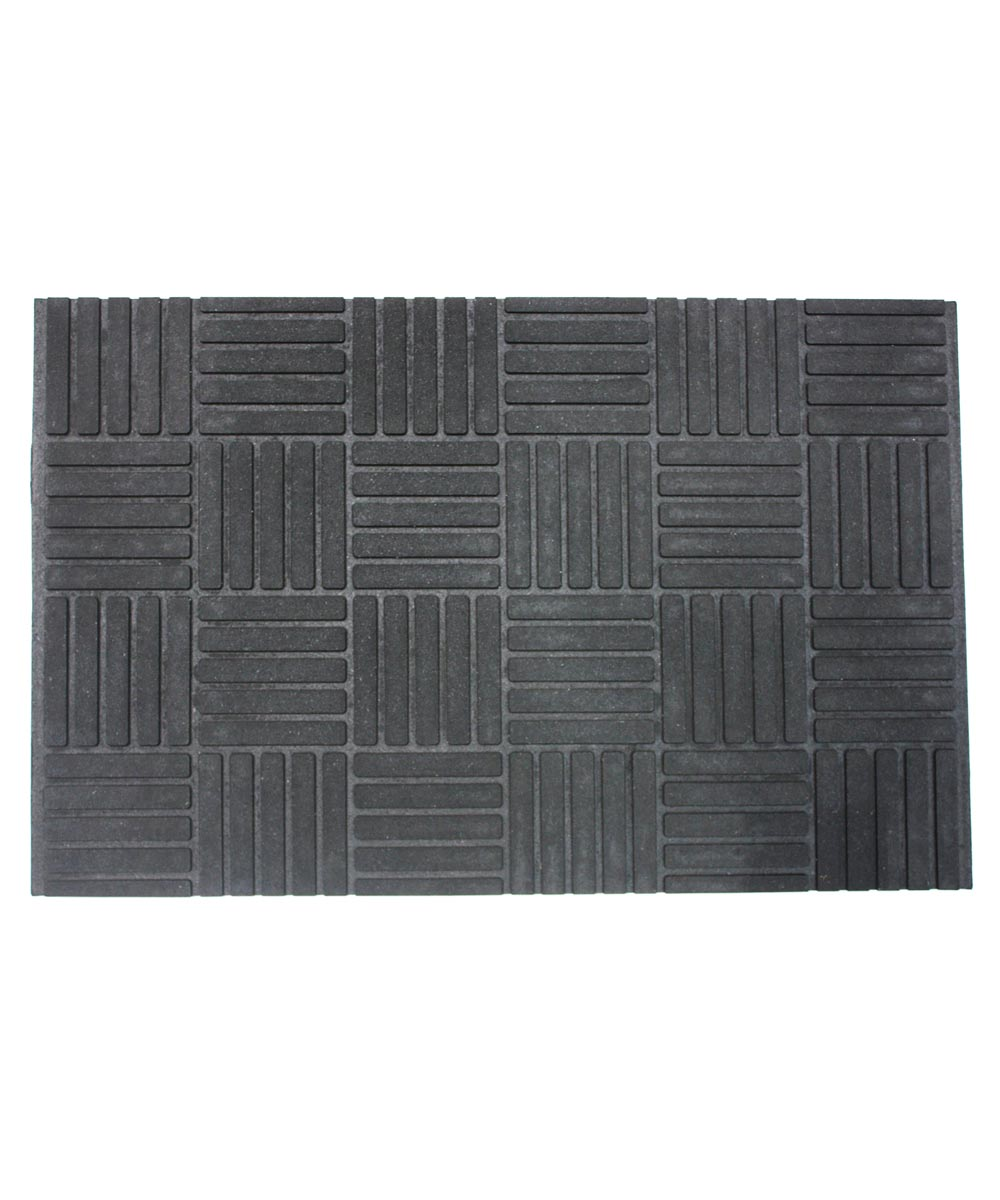 J & M Home Fashions Rubber Parquet Charcoal Doormat 17x27