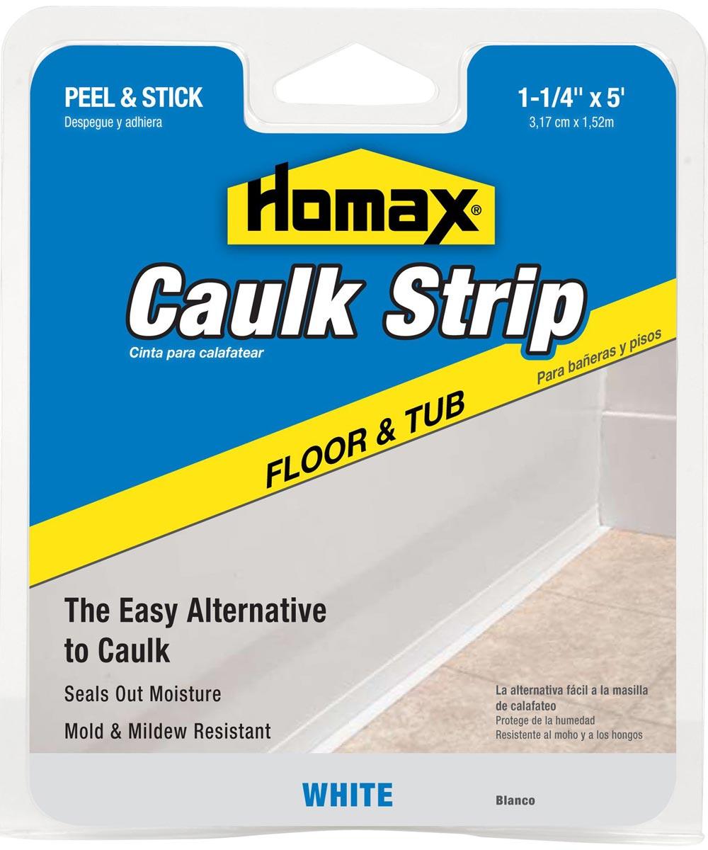 1-1/4 in. White Tub & Floor Caulk Strip