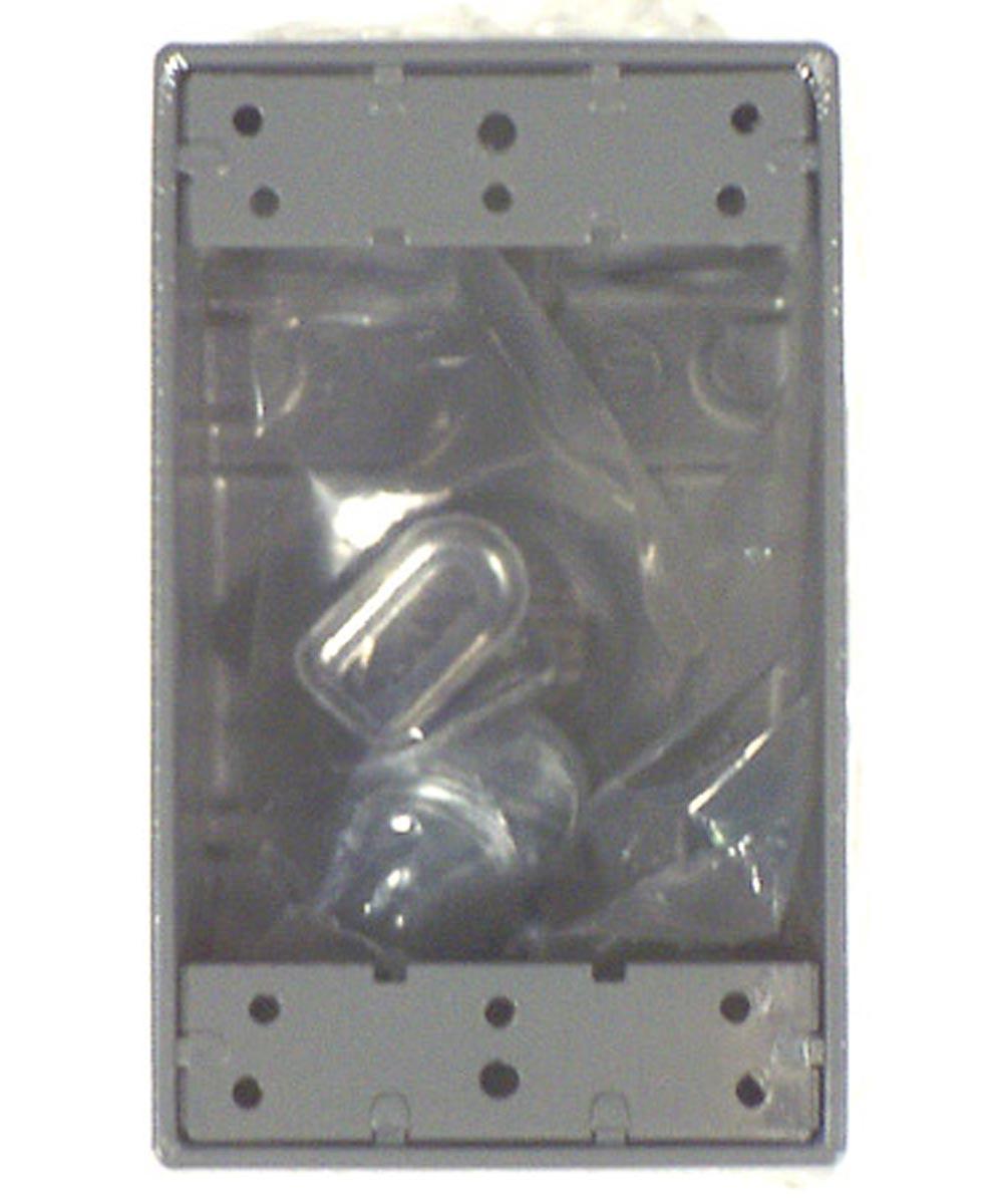 Gray Single Gang 4 Hole Weatherproof Box