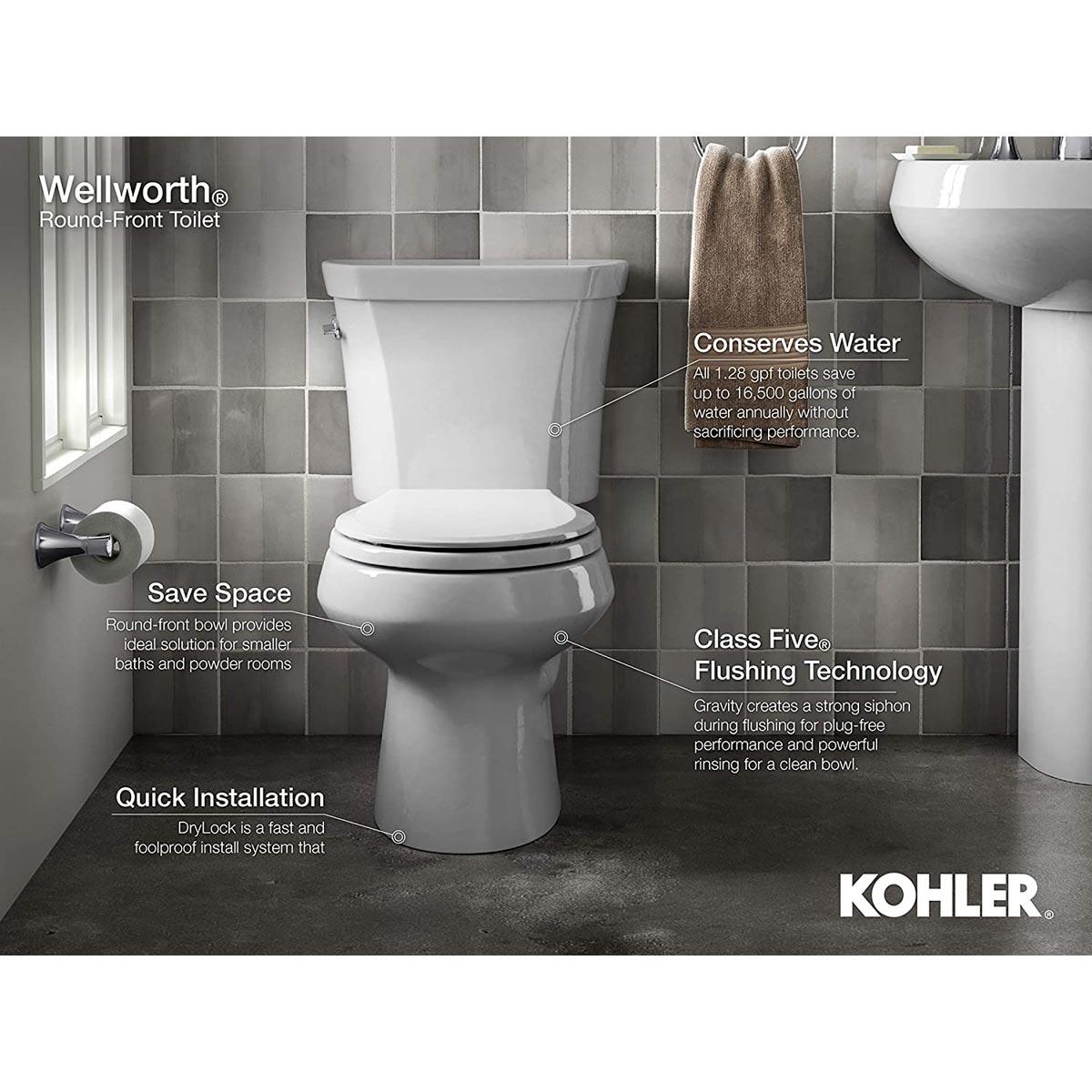 Kohler Wellworth Round Toilet Bowl, White