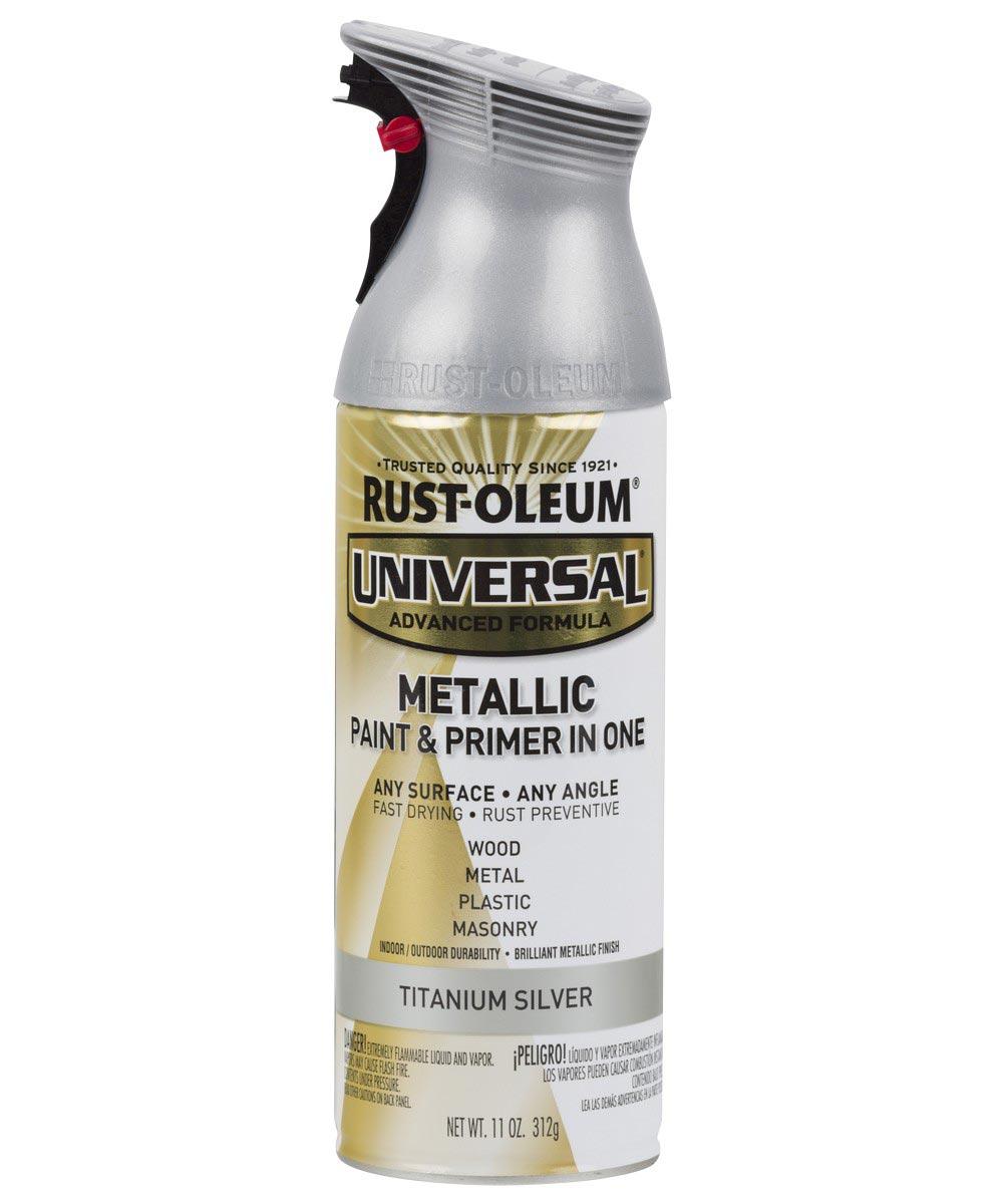 Universal Metallic Spray Paint, 11 oz Spray Paint, Titanium Silver