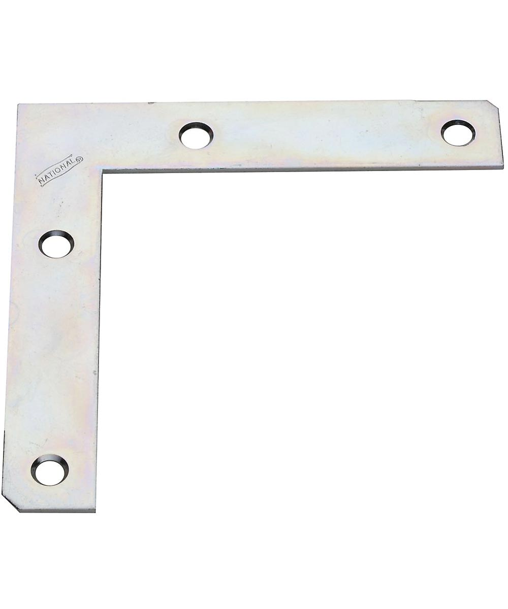 Flat Corner Brace, Steel, 5X7/8 Zinc, Bulk