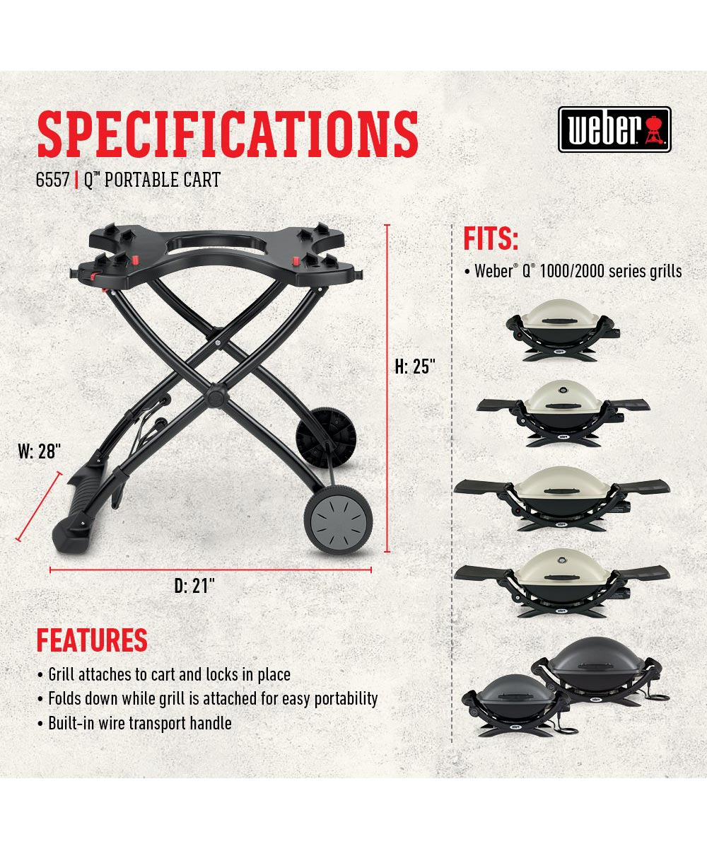 Weber Portable Grill Cart Stand for Q1000 & Q2000 Series