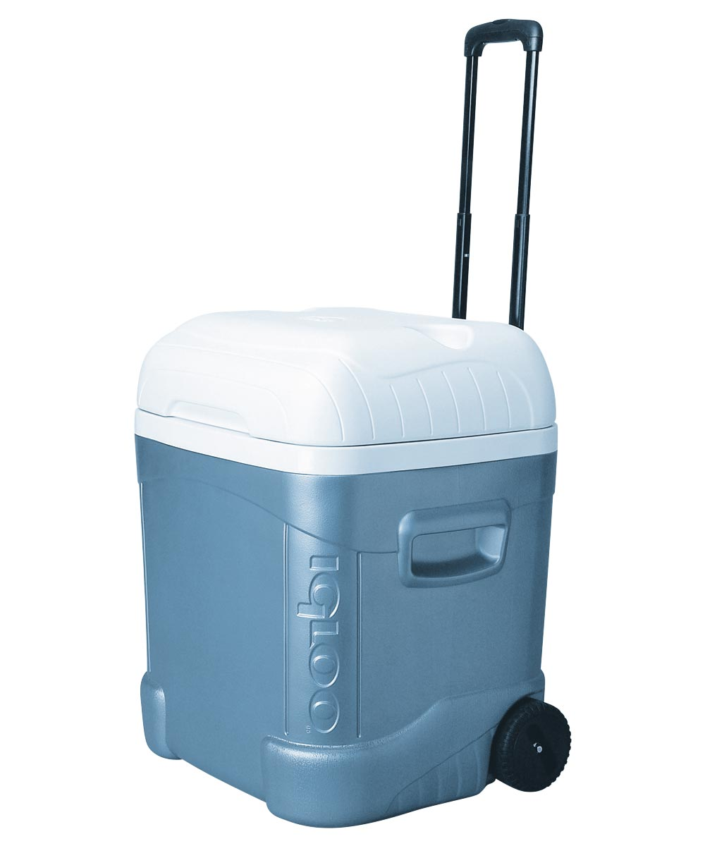 MaxCold 70 Ice Chest With Wheels, 70 qt, Plastic, Blue Body/White Lid
