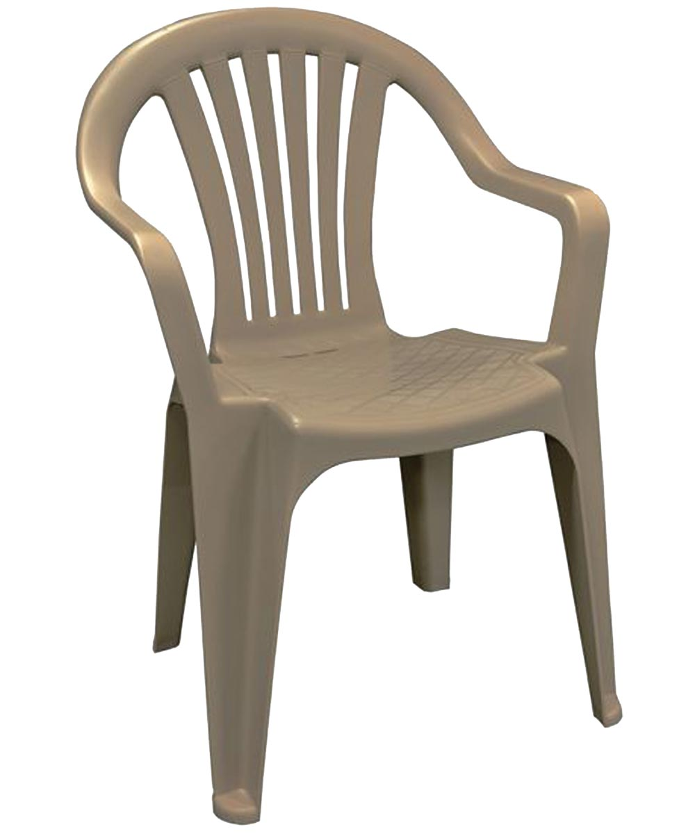Stackable Low Back Molded Resin Chair, Portobello Brown