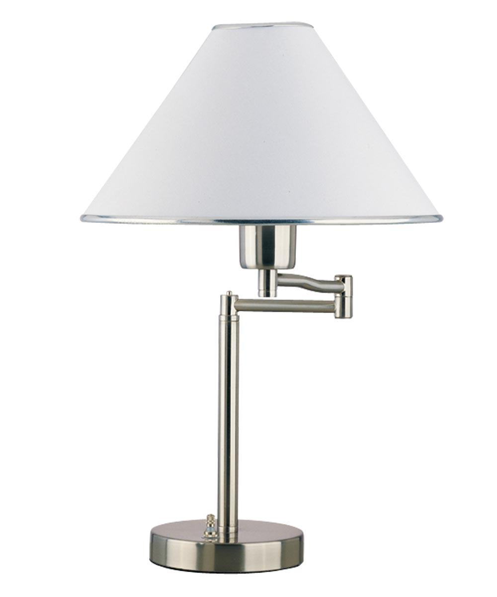 Boston Harbor Swing Arm Adjustable Desk Lamp, 60 W, A19, Satin Nickel Swing Arm