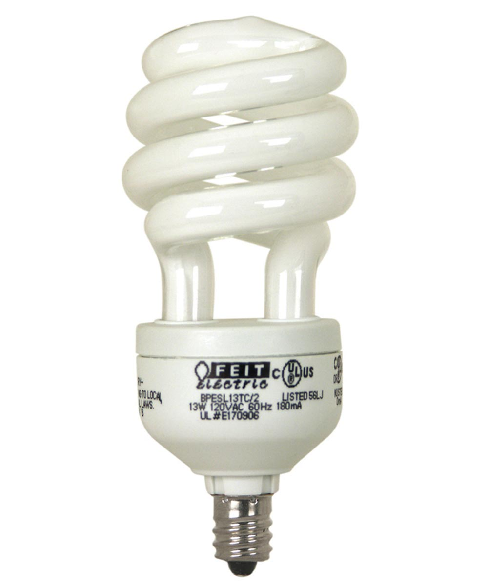Feit Electric 13 Watt White Candelabra Base Compact Fluorescent Light Bulb