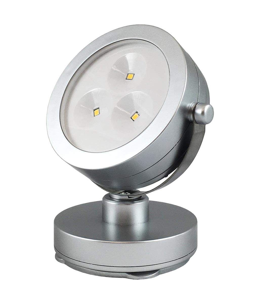 Silver Battery-Operated 3-LED Spot Light