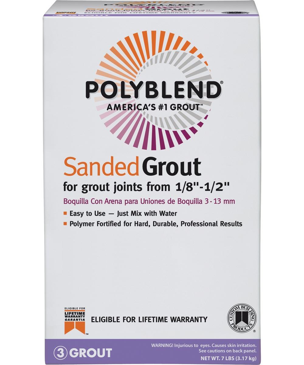Polyblend Sanded Tile Grout, 7 lb, Box, NO 165 Delorean Gray, Solid Powder