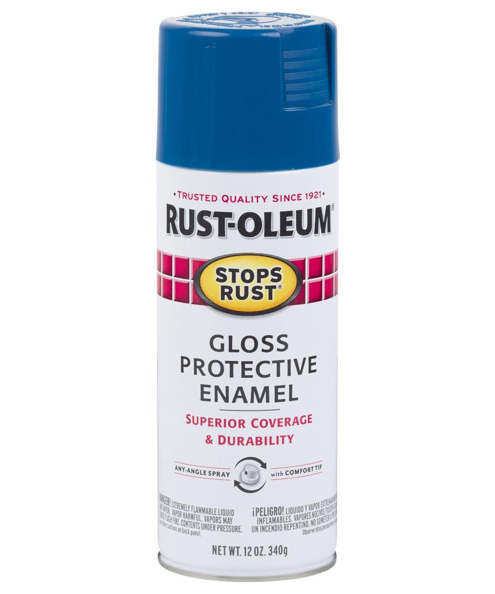 Stops Rust Protective Enamel Spray Paint, 12 oz., Gloss Royal Blue
