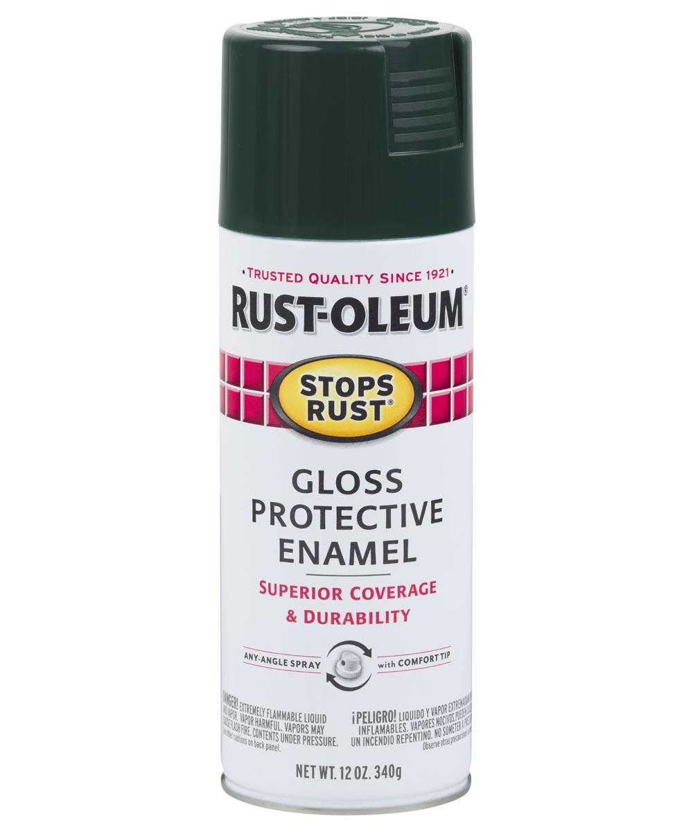 Stops Rust Protective Enamel Spray Paint, 12 oz., Gloss Dark Hunter Green
