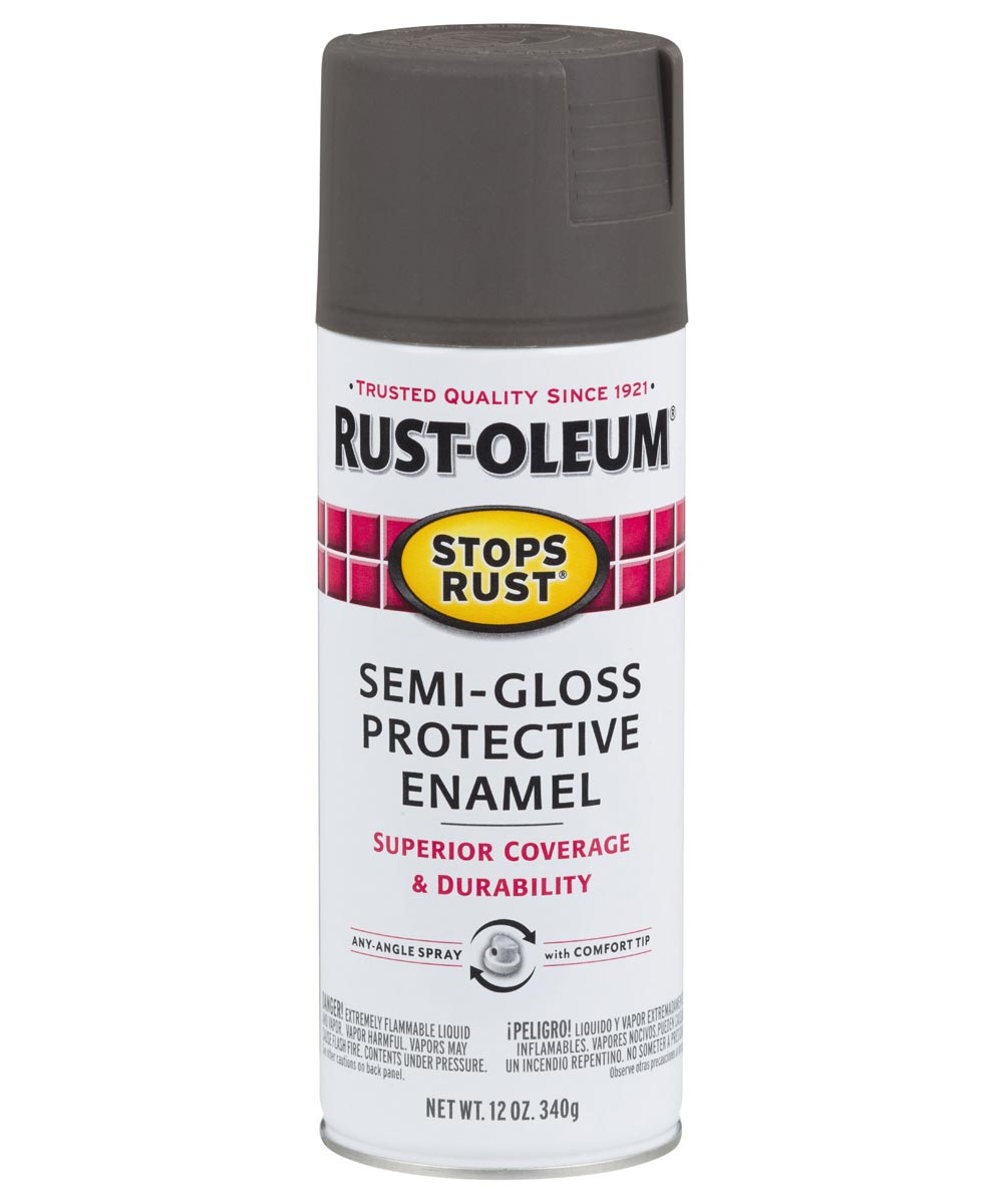 Stops Rust Protective Enamel Spray Paint, 12 oz., Semi-Gloss Anodized Bronze