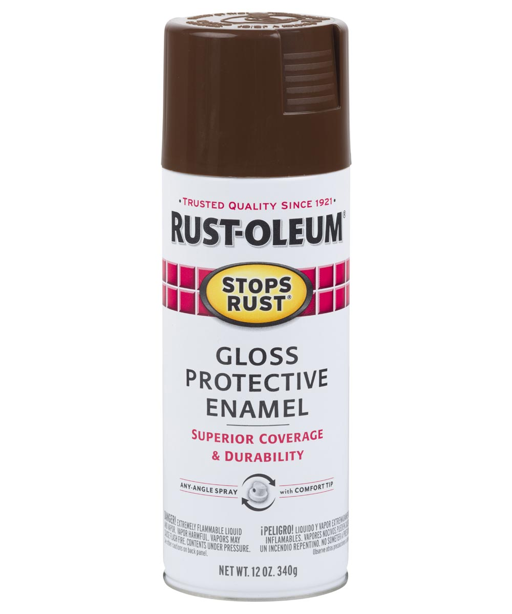 Stops Rust Protective Enamel Spray Paint, 12 oz., Gloss Leather Brown