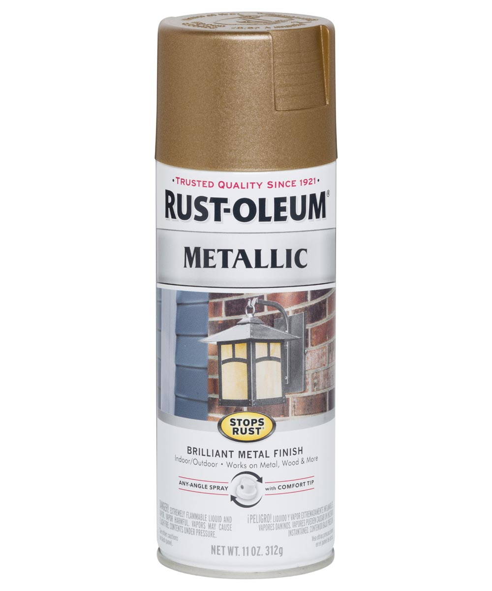 Stops Rust Metallic, 11 oz Spray Paint, Antique Brass