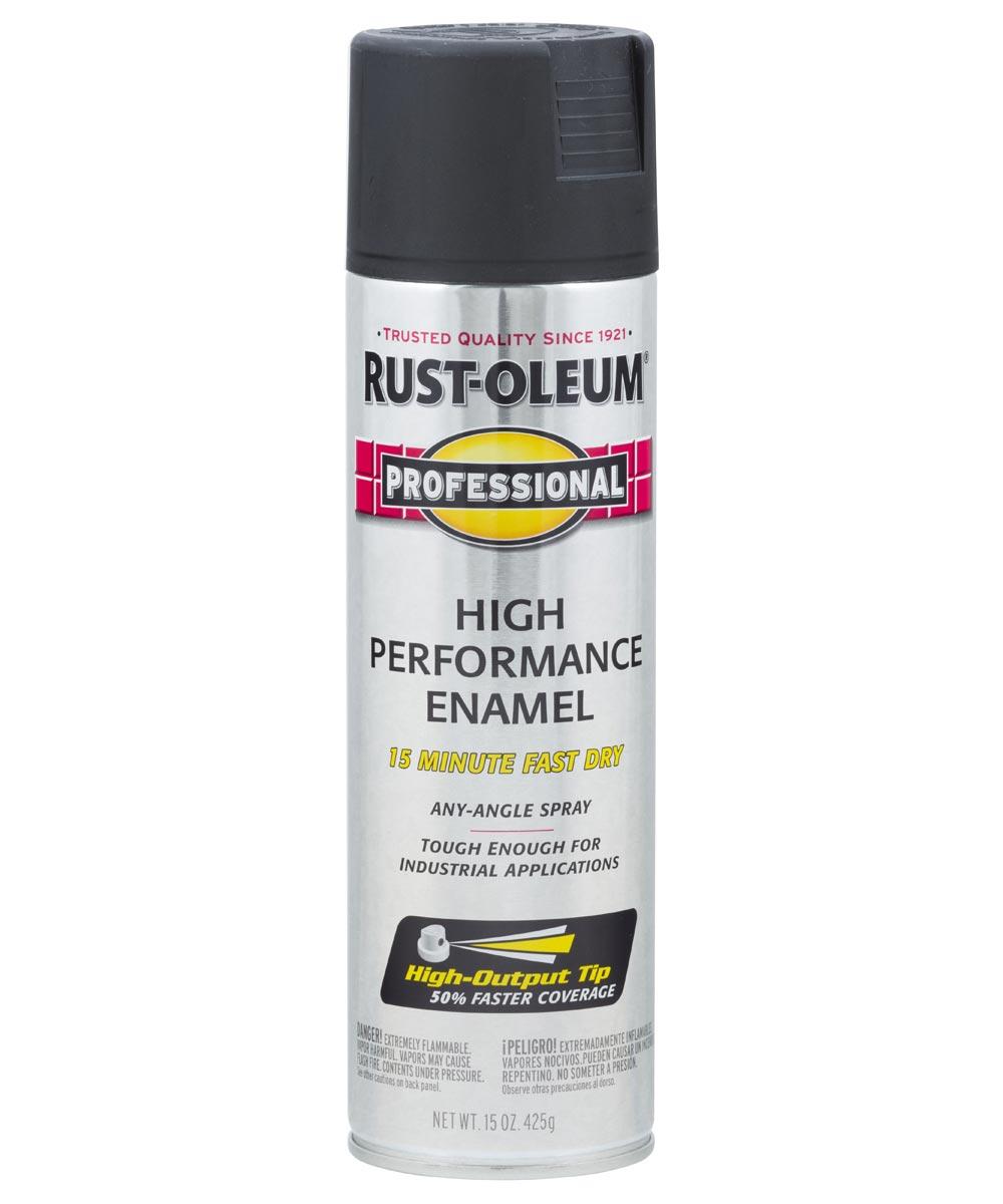 Professional High Performance Enamel Spray Paint, 15 oz., Flat Black